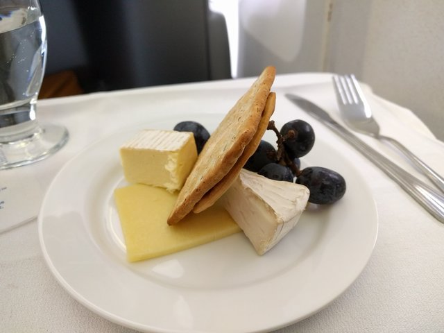 Cheese plate for lunch on United BusinessFirst to Dulles
