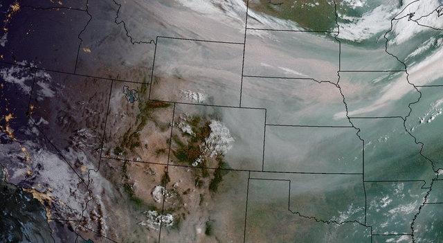 Wildfire smoke on GOES-16 geocolor imagery (prelim non-operational)