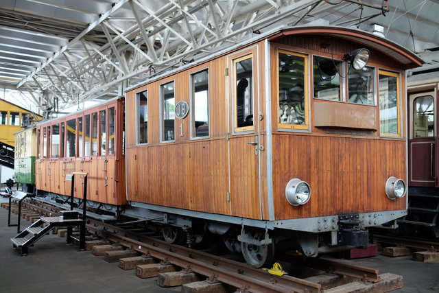 Old Jungfraubahn cars at the transportation museum