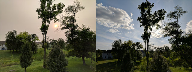 Skies Monday afternoon (left) and Tuesday afternoon (right)