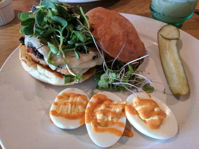 Veggie burger and deviled eggs at Westside Local