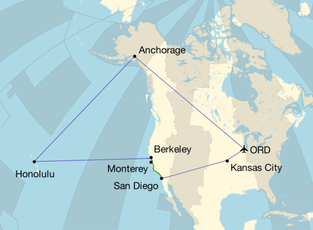Map of air and auto travel from April 30 through May 16 with time zones