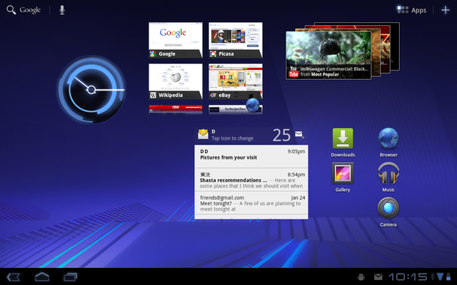 Android 3.0 home screen
