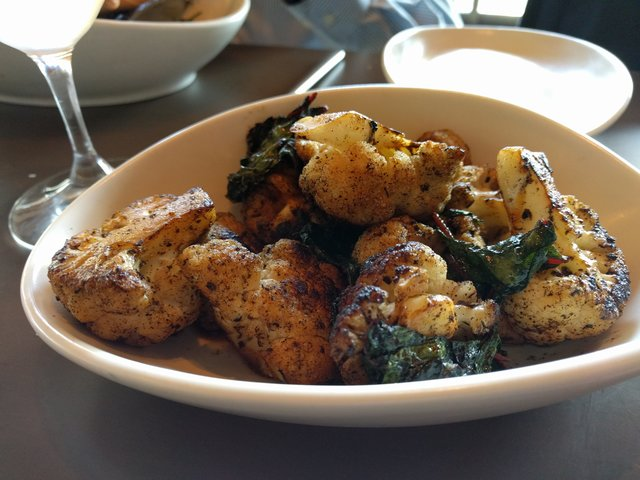 Blackened cauliflower and Swiss chard at Gram and Dun