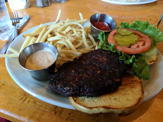 Black bean burger at Harry's Country Club