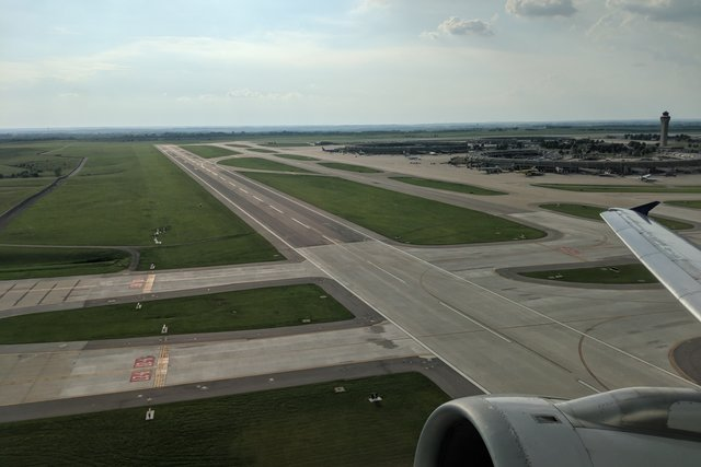 Takeoff from runway 19L out of Kansas City International Airport