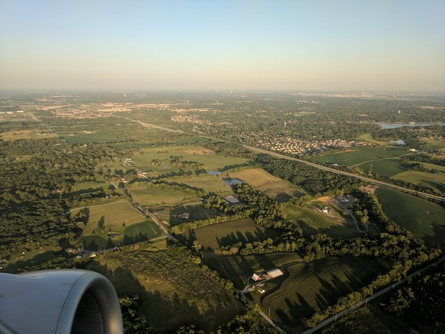 Takeoff over northern Kansas City