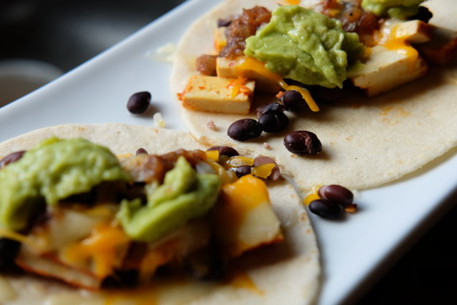 Black bean tofu tacos with guac