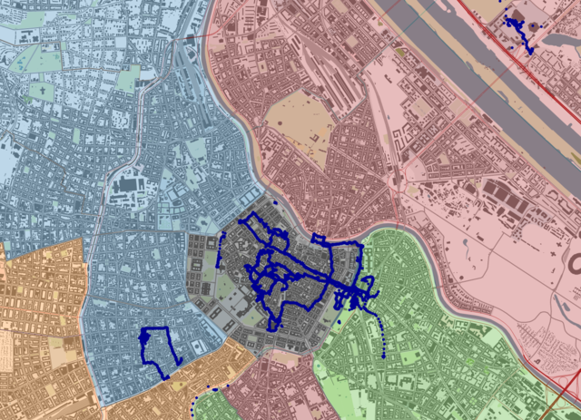 Central Vienna with GPS tracks and post-WWII occupation zones. Background map credit OSM contributors.